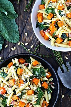 Roasted Butternut Squash and Kale Penne Pasta - yum! A perfect fall and winter dish for a weekday or holiday meal or side dish.