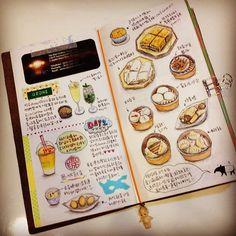 Traveler's notebook watercolor food drawings Instagram @Christine Hu |Webstagram