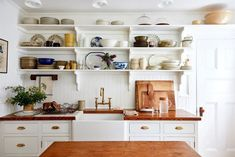 Tour :: A Classic Connecticut Cottage small classic country cottage kitchen in white and wood with open shelving New Kitchen, Kitchen Dining, Kitchen Pics, Dining Room, Kitchen Shelves, Country Kitchen, Kitchen Ideas, White Siding, Apartment Kitchen