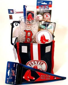 Red Sox Gift Basket-Win or lose, they're still our New England baseball team and… Theme Baskets, Raffle Baskets, Gift Baskets, All Gifts, Couple Gifts, Holiday Fun, Holiday Gifts, Team Snacks, Auction Baskets