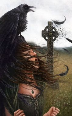 "The Morrígan (""phantom queen"") or Mórrígan (""great queen""), also written as Morrígu or in the plural as Morrígna, and spelt Morríghan or Mór-ríoghain in Modern Irish, is a Goddess from Irish mythology. (Art: 'While Ireland Holds These Graves')"