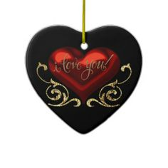 I Love You Red, Black and Gold Heart Ornament
