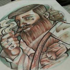 bearded gentleman tattoo @Jeremy Dahlfors Grapes