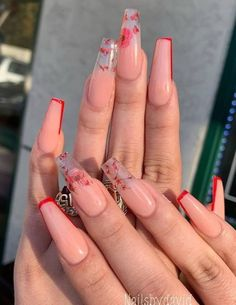 Summer Acrylic Nails, Best Acrylic Nails, Light Pink Acrylic Nails, Spring Nails, Pink Gel, Cute Acrylic Nail Designs, Coral Nail Designs, Coffin Nails Designs Summer, Long Nail Designs