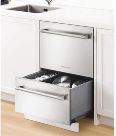 Fisher and Paykel Dishwashers Innovating Your Life When talking about dishwashers in general our thoughts normally turn to the giants of the industry. Those companies we have heard about and been inundated with deceptive ads by for decades. I am talking about the Maytag Company, the General Electric brand of products and more recently the Life is Good (i.e. LG) company. All these products offer us is a name we have heard of. Double Drawer Dishwasher, Built In Dishwasher, Dish Drawers, Fisher Paykel Dishwasher, Fully Integrated Dishwasher, Nebraska Furniture Mart, Washing Dishes, Meringue, Cool Things To Buy