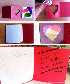 Corazón de colores. http://manualidades.euroresidentes.com/2013/06/tarjeta-con-corazon-de-colores.html