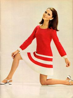spinnerin_vol183_Red and White Knit Dress