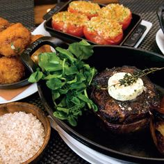 Grilled American Kobe Rib Eye With Smoked Sea Salt Three Sides from Laurent Tourondel, BLT Fish, BLT Steak, BLT Prime