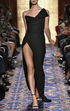 Heavy Georgette Fold Over Gown by Brandon Maxwell