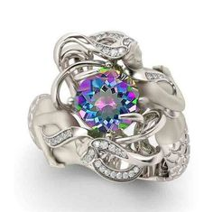 Mystical Mermaid Rainbow Topaz 925 Sterling Silver Ring Special Gift Unique Design Fine Jewelry