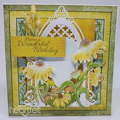 Botanical Birthday Greeting Card - has been created with the Backyard Blossoms Collection from Heartfelt Creations! This collection allows you to create beautiful handmade greeting cards and scrapbook layouts filled with summer sunshine and elegant conefl Beautiful Handmade Cards, Unique Cards, Creative Cards, Handmade Greetings, Greeting Cards Handmade, Birthday Greeting Cards, Birthday Greetings, Heartfelt Creations Cards, Window Cards