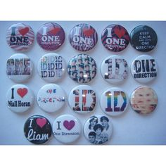 18 1D one direction party favors pin on buttons group of 18 badges... ($6.30) ❤ liked on Polyvore