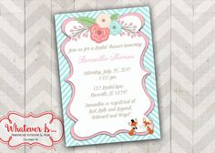 Flowers & Fox Bridal Shower Printable Invitation