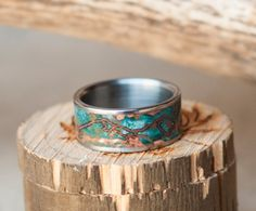 Mens Wedding Band Patina Copper Ring w/ Custom Mountain Engraving - Staghead Designs