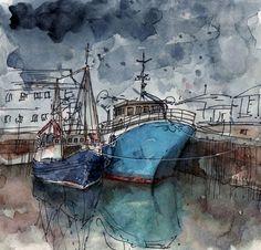 Kilkeel harbour, Northern Ireland ~ watercolour  pen