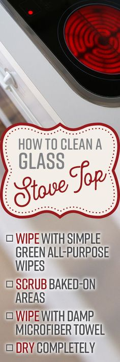 How to Clean a Glass Stove Top Cleaning Stove Top Burners, How To Clean Burners, Clean Stove Top, Cleaning Products, Cleaning Hacks, Cleaning Wipes, Organizing Tips, Spring Cleaning List, Baking Soda Vinegar