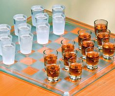 Checkers was fun when you were a kid, but now that you're all grown up you've probably wondered how you can still enjoy the game while still satisfying your drinking problem. The answer: shotglass checkers. Nothing gets a party going better than checkers and alcohol.