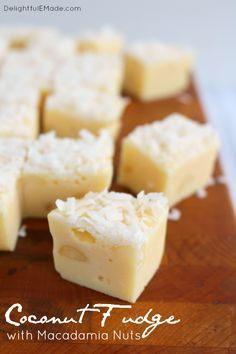 If you're a coconut lover, this fudge is for you! White chocolate, coconut and macadamia nuts make for the most amazing sweet, rich candy treat! Perfect for the holidays or anytime you're in the mood for some tropical flavors!