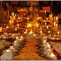 Day of the Dead celebrations usually start with the construction of alters decorated with many marigolds.