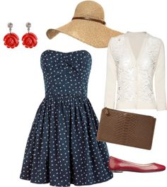 Lace sweater with a sundress. This would be so cute for the race track!
