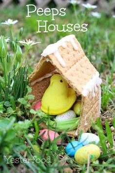 Recipe For Peeps Houses  - Is this an Easter craft or an Easter treat? It's both! These Peeps Houses are almost too cute to eat. Whether you eat them or not, they're fun to make.