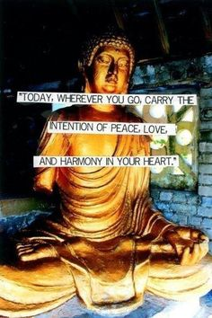 Today, wherever you go, carry the intention of peace, love, and harmony in your heart.