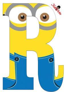 Typography - Minion Alphabet - Letter R Minion Birthday Banner, Birthday Banner Template, Minion Theme, Birthday Diy, Despicable Me Party, Minions Despicable Me, Minion Party, Minions 2014, Candy Bar Minions