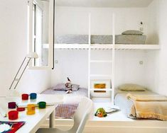 Here are 65 amazing children's bedrooms with bunk beds. Bunk Beds Built In, Modern Bunk Beds, Kids Bunk Beds, Loft Beds, Loft Spaces, Kid Spaces, Small Spaces, Small Rooms, One Bedroom