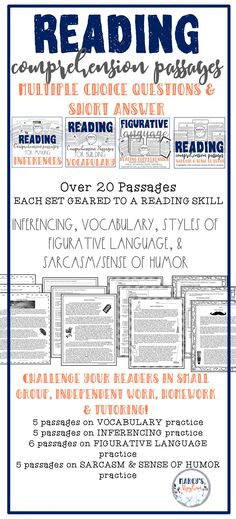 Show your students how to use context clues, use text evidence, identify styles of figurative language, find the theme, make inferences within the text, find the theme and much more. These reading passages will help you to see skills your readers may struggle with. These passages are long enough for independent work, but you can also use in a small group setting, centers, for homework, or reading tutorials. I have used these passages in my classroom, and with tutoring students. Reading Workshop, Reading Skills, Teaching Reading, Teaching Ideas, Reading Comprehension Strategies, Reading Passages, Class Activities, Language Activities, Classroom Resources