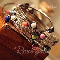 Retro and Ethnic Style Candy Color Gemstone Inlaid Muti-layered Bracelet For Women