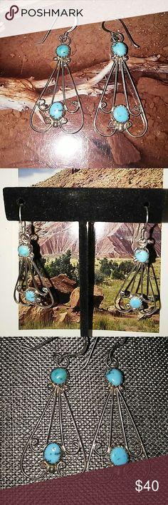 ANTIQUE NAVAJO 925 SILVER & TURQUOISE EARRINGS Handmade Antique Navajo sleeping beauty turquoise & 925 silver dangle earrings. Stamped on ear hooks. Antique Navajo Jewelry Earrings