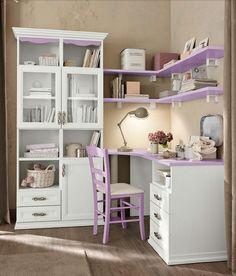 Arcadia Camerette gyerekbútor Bono Design lila és fehér íróasztal, dolgozósarok