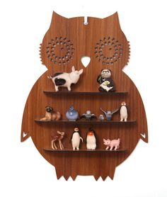 {owl shelf} by candystripecloud - I love owls, but would change up the stuff on the shelves!  Too cute!
