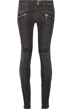 Balmain - Moto-style Distressed Low-rise Skinny Jeans - Gray - FR
