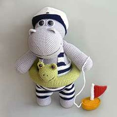 Henry the Hippo amigurumi crochet pattern by Kamlin Patterns 5.20