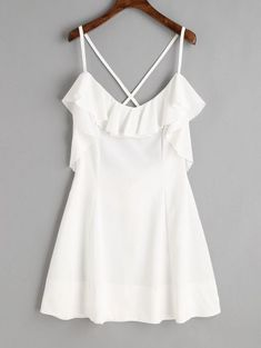 No Summer Solid Criss-Cross and Ruffles Sleeveless Spaghetti Mini A-Line Day and Night Fashion Criss Cross Back Ruffle Mini Dress Mini Slip Dress, White Mini Dress, White Lace, Trendy Dresses, Casual Dresses, Fashion Dresses, Fashion Clothes, Summer Dress Outfits, Spring Outfits