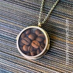 Perfect gift for a Caffeinated Friend! - 2-Minute Coffee Lover's Glass Locket Necklace - happyhourprojects