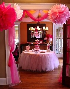 Girl's birthday party!- Table Tutu and doorway
