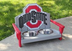"Ohio State Pet Feeder    *Fully Licensed Ohio State Products*  •Custom Ohio State themed pet feeder.  •Hand crafted from 1"" kiln dried pine."