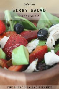 I love bringing this AIP Paleo Salad for lunch in the summer. The simple balsamic dressing just goes so well with the berries. Cooking Chicken To Shred, How To Cook Chicken, Harvest Salad, Berry Salad, Balsamic Dressing, Salad In A Jar, Greek Salad, Group Meals, Grain Free