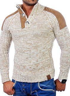 Shoppen Sie Tazzio TZ-3570 Herren Winterpullover / Grobstrick-Pullover, mit Aufnähern Gr. M, Off-white - Ecru auf Amazon.de:Pullover