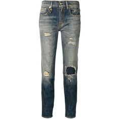 R13 distressed skinny jeans (£335) ❤ liked on Polyvore featuring jeans, blue, torn jeans, ripped skinny jeans, distressing jeans, skinny fit jeans and destroyed skinny jeans