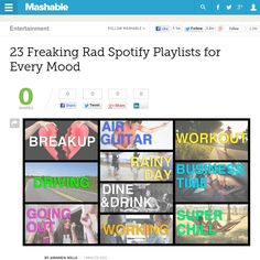 http://mashable.com/2013/05/27/top-playlists-on-spotify/ 23 Freaking Rad Spotify Playlists for Every Mood | #Indiegogo #fundraising http://igg.me/at/tn5/