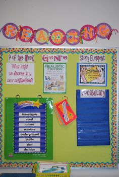 "Excellent Reading Board idea... (On top or beside my ""window""? Do Author Study, Genre, Teaching Point? Don't have a color printer at school, might just mount 3 small white boards and write in colorful expo pen each week...)"