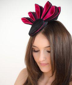 Peacock Fascinator headpiece black pink burlesque by TaraMDesigns