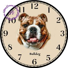 Brown & White Bulldog Art - -DIY Digital Collage - DIA for Clock Face Art - Crafts Projects by CocoPuffsDesigns on Etsy White Bulldog, Handmade Clocks, Face Images, Old Clocks, Diy Clock, Wishes Images, Arts And Crafts, Art Crafts, Craft Projects