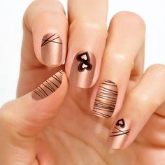 Belgian Delight  How sweet! Top your tips with this nail art design of chocolate and caramel-colored drizzles over shimmery rose gold.   Shimmer finish. Each set includes 16 double-ended nail polish strips.