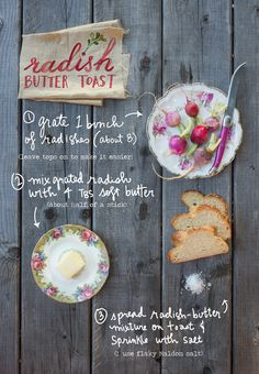 Radish Butter Toast - A Spring Appetizer — The Forest Feast Vegetarian Cookbook, My Cookbook, Vegetarian Recipes Easy, Appetizer Recipes, Appetizers, Martha Stewart Recipes, The Colour Of Spring, Root Veggies, Just Eat It