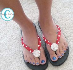 baseball bling flip flops , choose your colors!