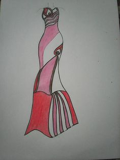 Hand Drawn fashion sketch of pink ballroom dress